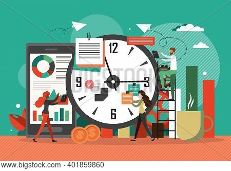 Time Management Concept Vector Illustration. Clock, Business Schedule, Project Deadline. Team Works