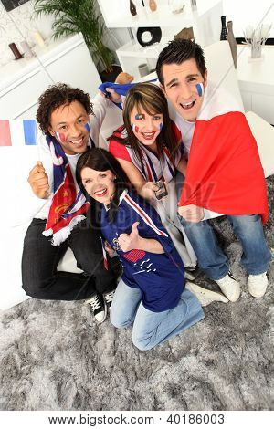ecstatic French soccer supporters