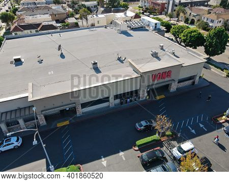 Aerial View Of Vons Upermarket Chain Owned By Albertsons In Los Angeles, California, Usa, December 3