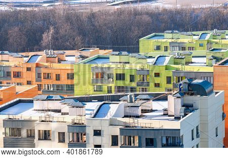 Flat Roof Of Modern Apartment House Building Exterior Mixed-use Urban Multi-family Residential Distr