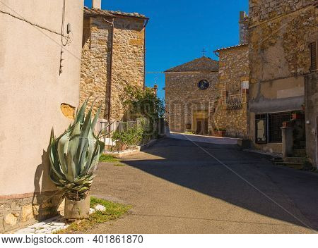 A Residential Street In The Historic Medieval Village Of Poggio Capanne Near Manciano In The Grosset