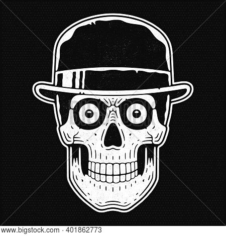 Skull Head In The Hat. Retro Illustration Engraving Woodcut Style.