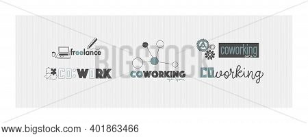 Vector Logo For Office Or Workspace In Hand Drawing Style. Coworking And Freelance Concept.