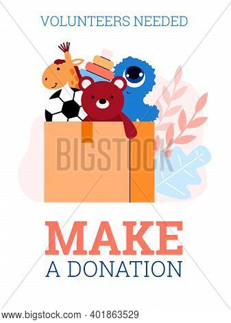 Volunteers Needed A Poster Or Placard Concept Calling For A Donation, Flat Cartoon Vector Illustrati