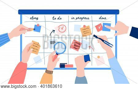 Concept Of Agile Development. Human Hands Sticking Papers On Board For Analyzing Strategy Tasks. Scr