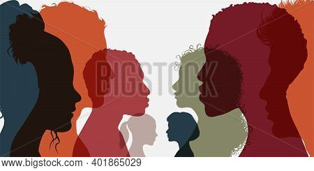 Silhouette Group Of Men And Women Of Diverse Culture Standing Together In Front Of The Other. Divers