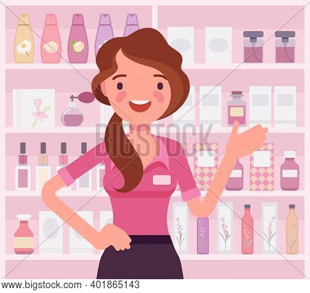 Perfume Shop Female Attractive Employee, Assistant. Smiling Girl Happy To Help Choosing, Finding Fra
