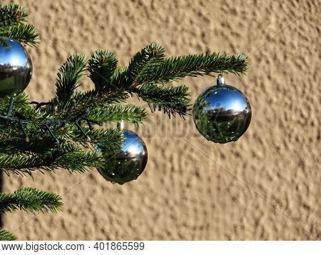 Three Mirror Christmas Baubles Shining In Bright Sun, Green Fir Tree Branches