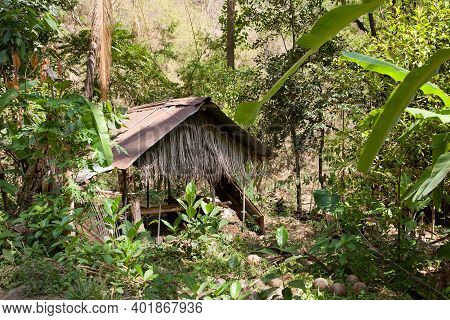 An Old Cabin In The Jungle. Jungle Hut On An Island.