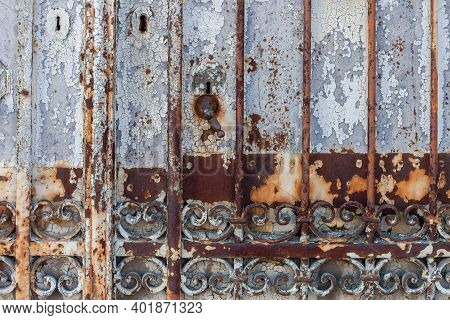Background Texture Of A Rusted Metal Gate