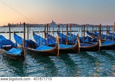 View Of A Gondola Pier In Venice, Italy