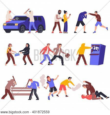 Hooliganism Set Of Flat Icons With Isolated Human Characters Of Vandals With Views Of Various Action