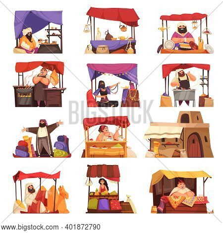 Asian Market Cartoon Set Of Eastern People Selling Outdoor Souvenirs Jewelry Accessory Carpets Handm