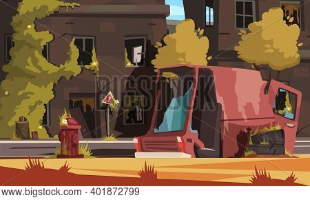Post Apocalypse City Cartoon Background With Empty Destroyed Living Buildings And Automobile Vector