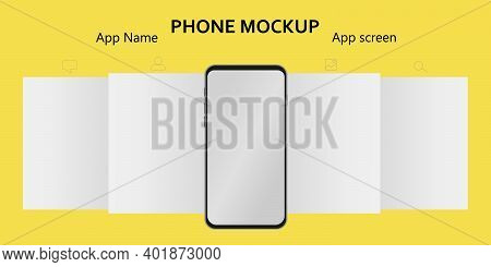 Mockup Carousel Interface Post On Trendy Yellow Background. Web App Ui Display Template. App Screens