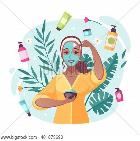 Skincare Beauty Products Cartoon Composition With Creams Moisturizing Lotions Swirling Around Applyi