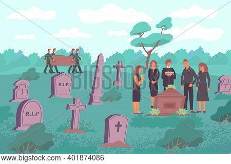 Funeral Flat Composition With Cemetery Landscape With Stone Graves And Human Characters Carrying Woo