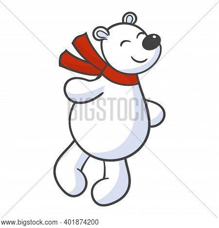 Vector Cute Cartoon Toy White Polar Bear In Red Scarf