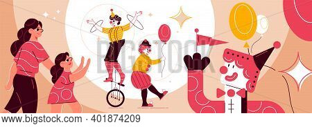 Circus Funfair Composition With Characters Of Mother And Daughter Visiting Festival With Balloons An