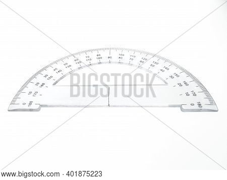 Aerial View Of Protractor For Measuring Degrees Isolated On White Background. Math Instrument For Me
