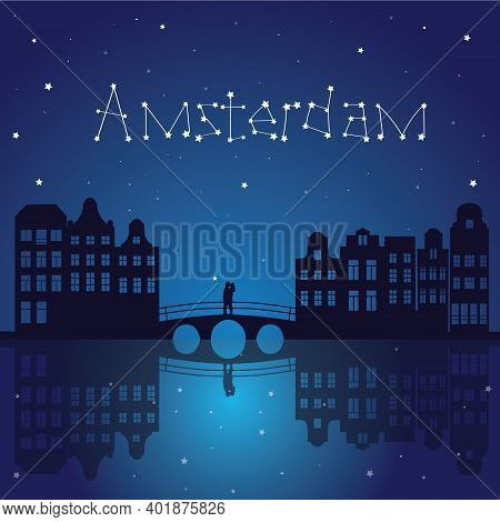 Illustration In A Flat Style. Kiss On The Bridge. In The Sky There Is An Inscription Of Stars Amster