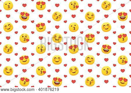 Kiss Yellow Emoticons, Red Hearts And Lovely Faces With Heart Eyes. Online Dates Seamless Vector Ill
