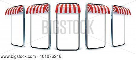 Shop Canopy On Smartphone, Shopping App Presentation Template Vector Set.