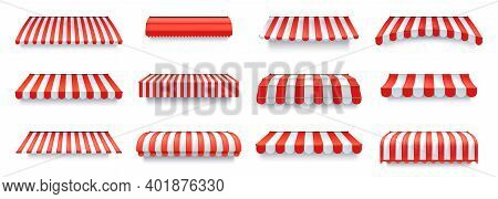 Cafe Sunshade, Store Awning Or Roof With Red And White Stripes Isolated Vector Set.