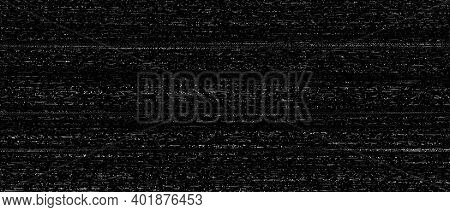 Vhs Glitch, Damaged Signal And Distorted Retro Tv Texture. Black And White Monitor Problem Vector Ba