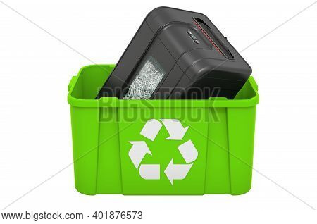 Recycling Trashcan With Paper Shredder, 3d Rendering Isolated On White Background