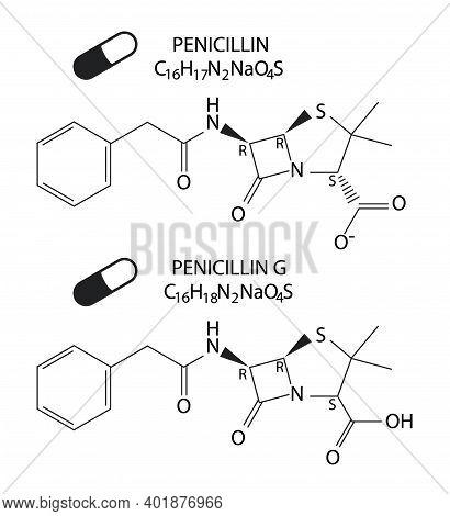 Vector Illustration Of Chemical Structural Formular Of Penicillin And Penicillin G Antibiotics