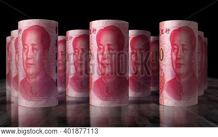 Chinese Yuan Renminbi Money Banknotes Rolls Illustration