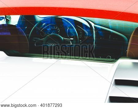 Kiev, Ukraine - March 7, 2011: Audi R8 V10 Spyder. Abstract Photo. View Of The Interior Of A Modern