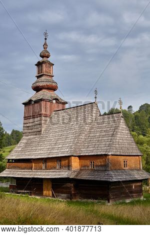 Wooden Church Of The Nativity Of The Blessed Virgin In Pilipets, Ukraine. 18th Century With Two-tier