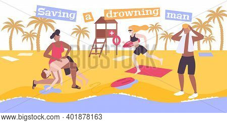 First Aid Drowning Flat Composition With Text And View Of Beach With People Resuscitating Pulled Per