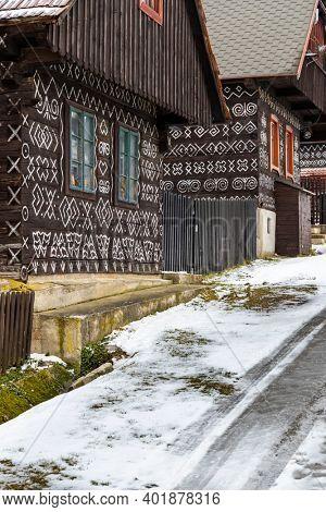 Painted folk house, UNESCO village Cicmany in Slovakia