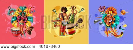 Realistic Design Concept With Dressed Up Musicians And Dancers Of Brazil Carnival Isolated On Colorf