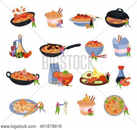 Wok Box Set Of Isolated Icons With Served Noodles On Frying Pan Plate Packed In Box Vector Illustrat
