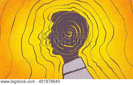 Illustration Of A Person's Profile, His Thoughts And Energy Of Thoughts, Energy Of Character, Law Of