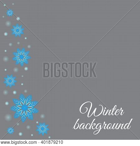 Winter Grey Background With Snowflakes And Glowing Dots. Vector Design Of Holidays Illustration