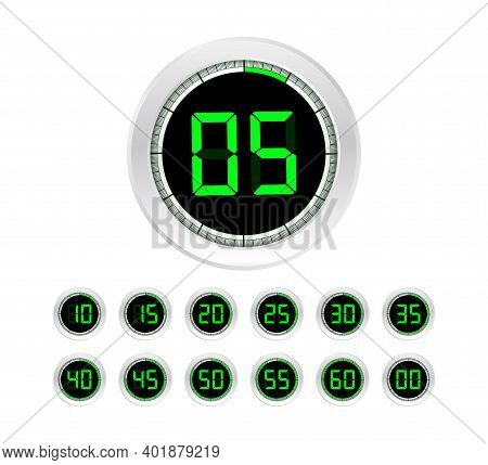 Set Of Timers. Sign Icon. Full Rotation Arrow Timer. Colored Flat Icons. Set Of 12 Timer Icons