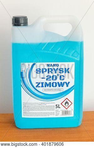 Pruszcz Gdanski, Poland - November 29, 2020: Bottle Of Blue Nano Sprysk Antifreeze Windshield Washer