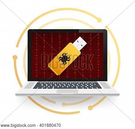 Computer Virus On Usb Flash Card. Virus Protection. Vector Stock Illustration.