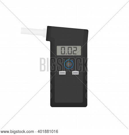 Handheld Breath Alcohol Tester Analyzer Electronic Device. Vector Stock Illustration.