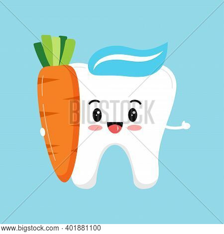 Cute Tooth With Carrot. Strong Smile White Tooth With Food For Dental Health. Children Hygiene And E