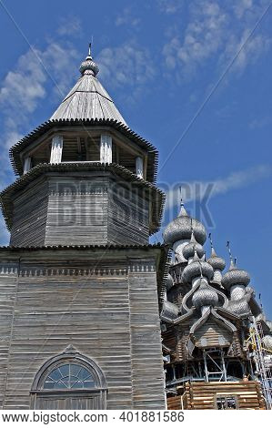 Kizhi, Russia - 14 J Uly 2014: Kizhi Pogost. View Of The Belfry And Church Of The Transfiguration