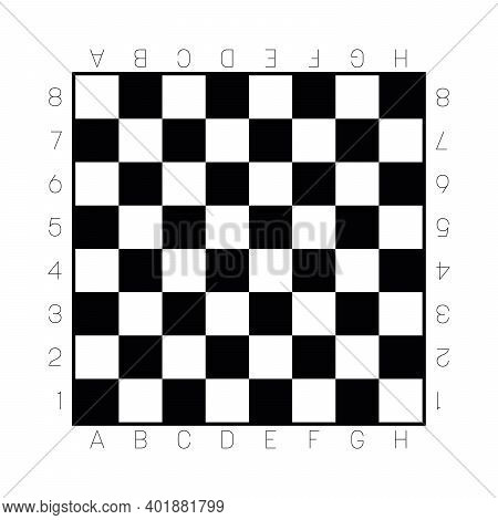 Chess Board In Black And White. Gameboard For Leisure Or Sport Game Of Chess. Vector Illustration.