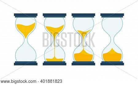 Hourglass Collection. Hourglass Timer Sand As Countdown. Vector Stock Illustration.