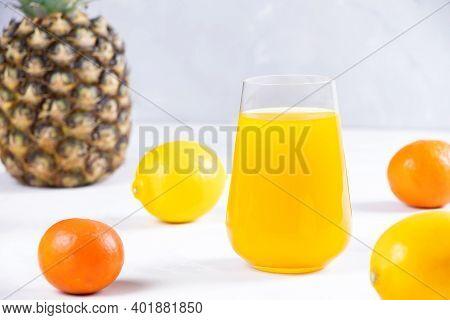 Multifruit Juice In Glass On White Background. Orange Juice.fresh Fruits.healthy Food And Drink. Veg