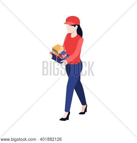 Isometric Post Composition With Female Character Of Postman With Stack Of Parcels Vector Illustratio